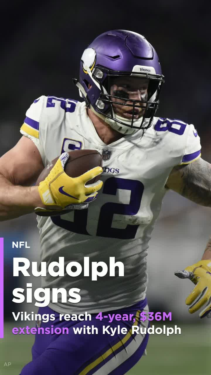 best sneakers 26429 18f4c Vikings reach four-year, $36 million extension with TE Kyle Rudolph