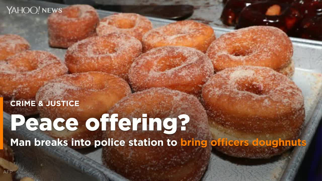 Man breaks into police station to bring officers doughnuts when they arrive