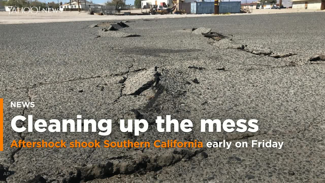 UPDATE 3-Strong aftershock jolts same California desert region day after major quake