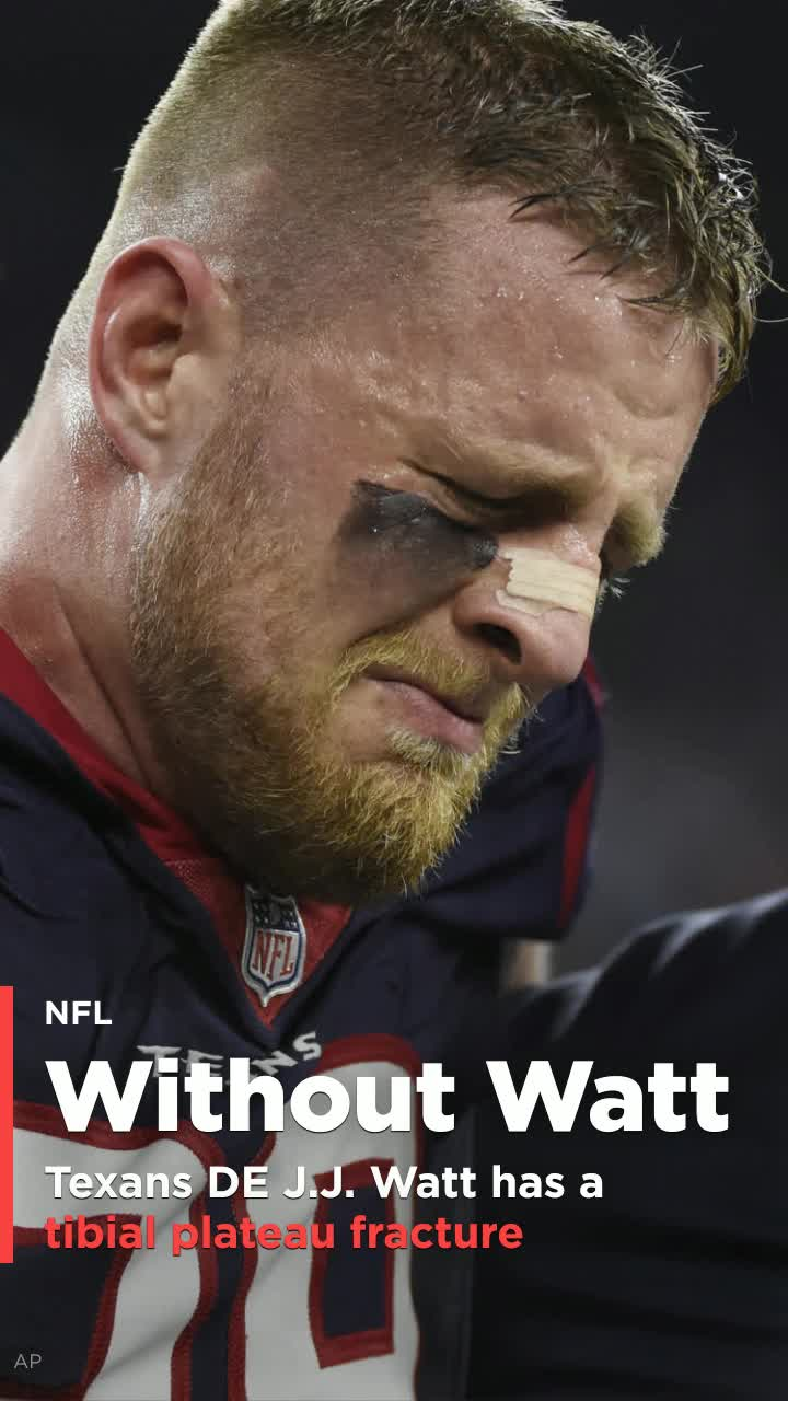 J J Watt leaves stadium in ambulance has a tibial plateau