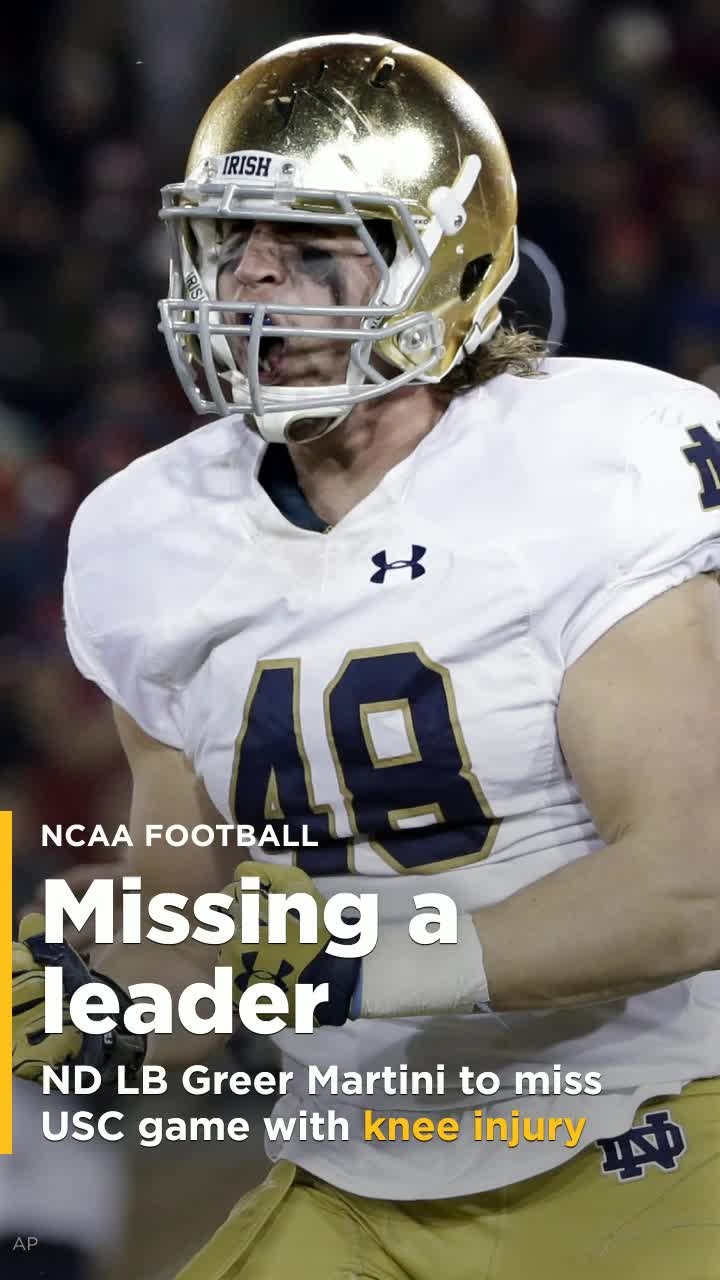 info for 350e8 d1eb7 Notre Dame LB Greer Martini to miss USC game with knee injury